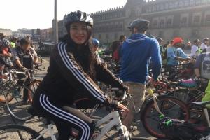 Participa Janet Hernández en rodada del Foro Mundial de Bicicleta