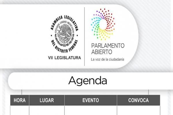 Agenda jueves 14 de septiembre de 2017